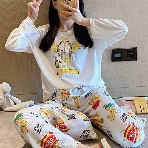 Wenhua Pijama para Mujer, Cute Dibujos Animados cómics Ropa de casa Pijamas Mujeres, Garfield_XL, Conjunto de Pijama Largo de Manga para Mujer