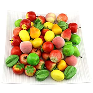 Gresorth Fake Mini Fruit Apple Pear Tomato Peach Lemon Strawberry Artificial Food Kitchen Toy Home Party Decoration