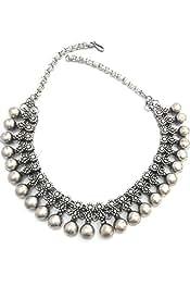 ea38eb061f Anigalan Kohlapuri Ball Tribal Necklace Antique Texture Oxidised Silver  Metal for Women (14 Inches)