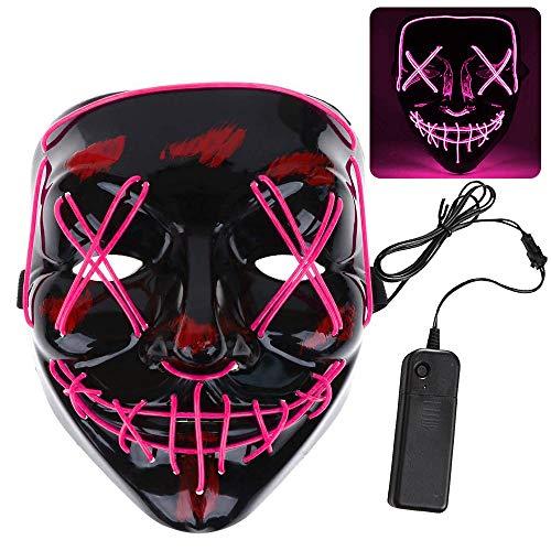 Máscara Purga, ZoneYan LED Máscaras Halloween Carnaval, Light Up Máscara, Craneo Esqueleto Mascaras, Máscara Resplandeciente, 3 Modos de Iluminación (pink)