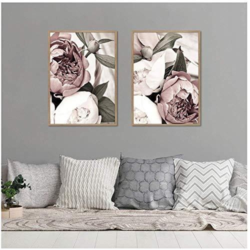 YaShengZhuangShi Nordic Canvas Malerei Poster und Druck Pink Blush Pfingstrose Blumenzimmer Dekor Wandkunst Bild für Wohnzimmer Wohnkultur 2x50x70cm ohne Rahmen