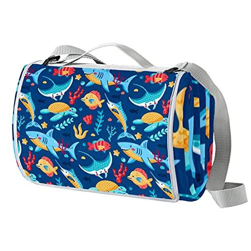 Anmarco Colorido vida marina Sharksturtle Fish impermeable al aire libre Picnic manta práctica de picnic para la playa, camping, senderismo, plegable