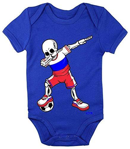 Hariz - Body de manga corta para bebé, diseño de esqueleto de la Selección de fútbol de Rusia, incluye tarjeta de regalo azul Royal Königs Blau Talla:3-6 meses