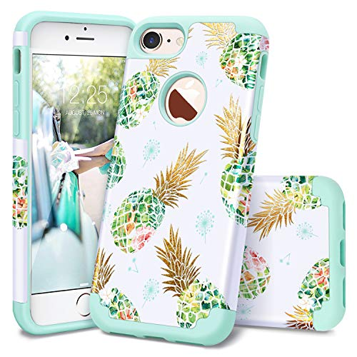 Casewind iPhone 8 Plus Case,iPhone 7 Plus Case,iPhone 7 plus/8 plus Case Pineapple 2 in1 Hybrid Protective Hard PC Soft Silicone Shockproof Impact Anti Scratch Rugged Bumper 8 Plus Case for Women,Mint