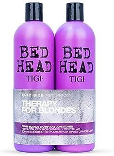 Tigi - Bed Head Dumb Blonde, Trattamento ricostituente per capelli trattati chimicamente, Shampoo + Balsamo