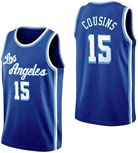 CYYX Camiseta de Baloncesto para Hombre NBA Los Angeles Lakers 15# Cousins Cómodo/Ligero/Transpirable Malla Bordada Swing Swing Sworkman Sweatshirt,D,XXL
