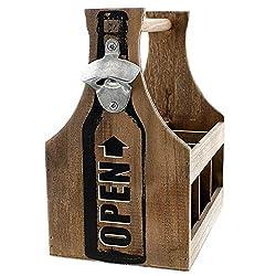 SIDCO Flaschenträger Holz Getränketräger Flaschenkorb rustikal Bierträger mit Öffner