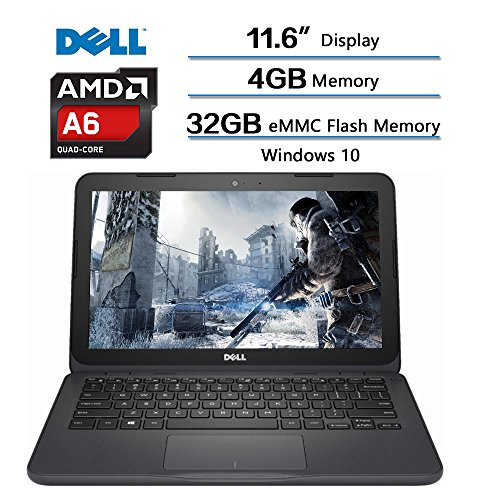 "2018 Dell Inspiron High Performance Laptop, AMD A6-9220e processor 2.5GHz, 11.6"" HD Display, 4GB DDR4 SDRAM, 32GB eMMC Flash Memory, Windows 10 (Gray)"