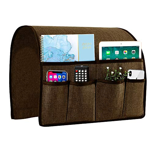 Joywell Sofa Armrest Organizer Couch Arm Chair Caddy with 6 Pockets for Magazine Books TV Remote Control Cell Phone iPad Chocolate