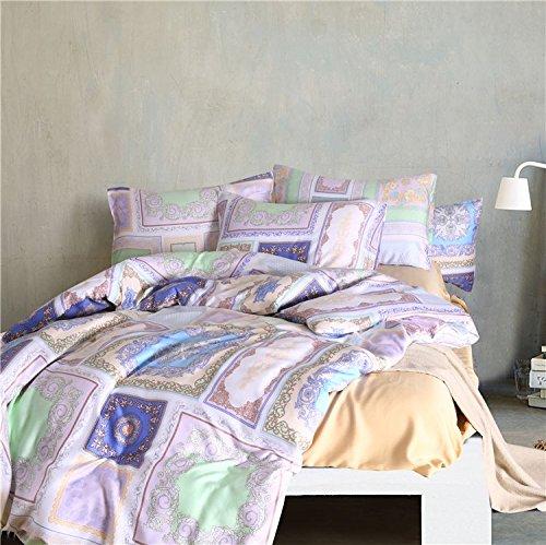 LELVA Boho Bedding Duvet Cover Set 100% Cotton Bohemian Ethnic Style Bedding Set Girls Bedding 4-Piece (Full, Flat Sheet)