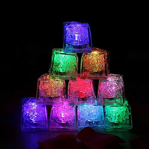 N\C Cubo de hielo LED emisor de luz con sensor de líquido activado por agua, reutilizable y emisor de luz LED intermitente