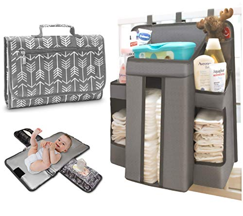 Hanging Diaper Organizer for Changing Table or Crib and Bonus Travel Changing Pad | Nursery Organizer for Cribs with Bonus Matching Portable Changing Pad