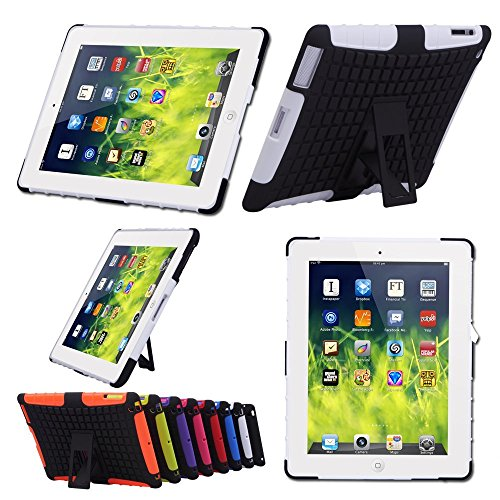 TKOOFN 2 in 1 Defender Tough Back Case with Kickstand for iPad (iPad 2/3/4, White) - PT7101