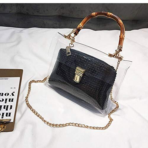 MMKONG Transparente Tasche Für Frauen Handtasche Mit Bambusgriff Sommer Kleine Kette Umhängetaschen Damen Stroh Strandtaschen-Black,21cm x 13cm x 7cm