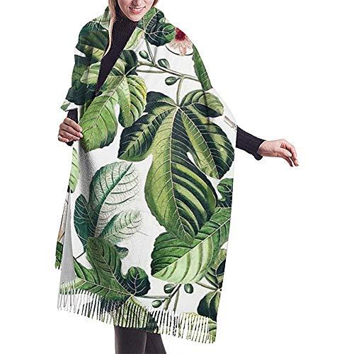 Cathycathy Feigen Blatt Garten Feigenblätter Schal Leichte übergroße Mode Weiche Schals Fransen Schal Wraps