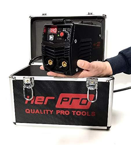 HERPRO MINI140XT Equipo de soldar inverter con transistores IGBT, Mangueras de 3 metros, Valido para generador, Autoventilado, Maleta Aluminio, LIF TIG