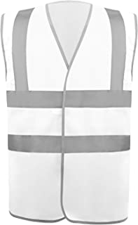 Safety Vest Reflective stripes Safety knitted Vest Bright Construction Workwear for men and women. (3XL, White)