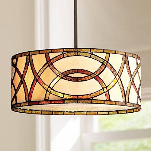 Art Glass Circles Bronze Tiffany Drum Pendant Chandelier 20