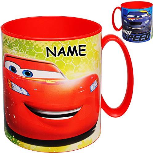 alles-meine.de GmbH 4 Stück _ große - Trinkbecher / Henkeltassen - Disney Cars - Auto - Lightning McQueen - inkl. Name - 350 ml - BPA frei - Mikrowellen geeignet - Kunststoff Pla..