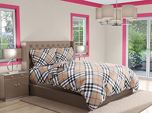 Biancheriastore Funda nórdica de 3 tamaños de puro algodón, fabricada en Italia, con diseño de cuadros beis pardo, funda nórdica y fundas de almohada, 100% algodón, para cama de plaza y media