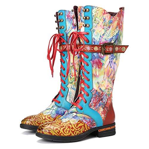 Camfosy Botas Altas para Mujer,con tacón de Piel con Cordones Antideslizantes cómodas cálidas para Invierno Bonitas Pinturas al óleo Estilo Vintage Multicolores