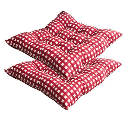 VOSAREA 2 stücke Platz sitzkissen Plaid stuhlhussen weichen Stuhl Pads für Home Office Restaurant 40 cm (rot)