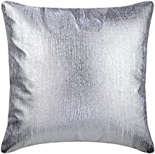 Decorative Silver Cushion CoverCouch 40x40 cm, Faux Leather Cushion Covers, Solid Color, Textured Leather, Metallic Leath...