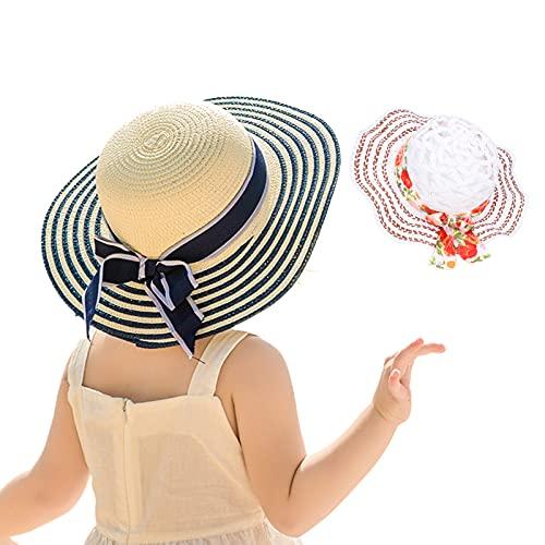 Sombrero de paja de verano para niños, sombrero de sol de verano multiusos para niños y niñas de 3 a 12 años para uso en el hogar para actividades al aire libre para viajar(B)