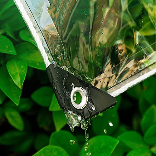 Lonas Impermeables Transparente Exterior PVC con Ojales Impermeable a Prueba de Lluvia Toldo de Aislamiento de Plantas Cubierta de Plástico para Cobertizo de Balcón de Jardín (2.4x2.5m/7.9x8.2ft)