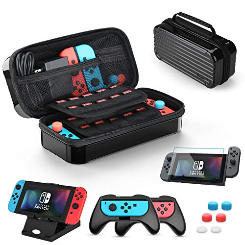 HEYSTOP Tasche für Nintendo Switch, 11 in 1 Nintendo Switch Tragetasche Mit 2 Joy-Con Griffen für Nintendo Switch, PlayStand, Displayschutz aus Gehärtetem Glas und 6 Daumen Griffkappen(Schwarz)