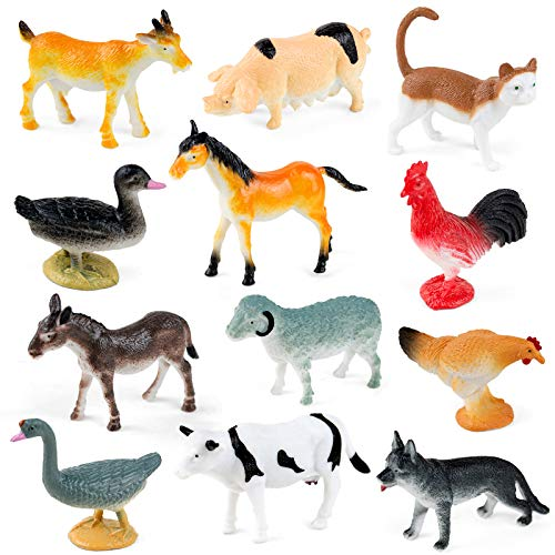 Farm Animals Toys  Yarloo Realistic Farm Anime Figures for Toddlers Kids  Farm Animal Figurines with Gift Package  12 Piece Party Favor Toys Include: Dairy Cow  Horse  Sheep  Chicken and More