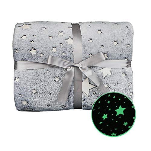 Manta suave Glow In The Dark con estampado de estrellas, manta de franela, manta de sofá, para niñas, niños y adultos