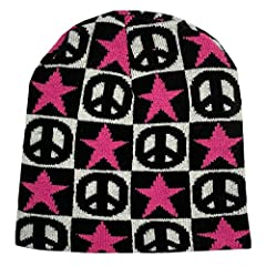 Stars and Peace Signs beanie cap. Color: Black and White and Pink. One size fits most. Washable. Fabric Content: 100% Acrylic.
