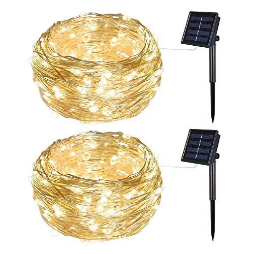 Solar Powered LIIDA String Lights, LED Copper Wire Lights, Star Light Chains, Waterproof IP65 Solar Decoration Lights for Indoor and Outdoor Use (2 Pack Warm White)