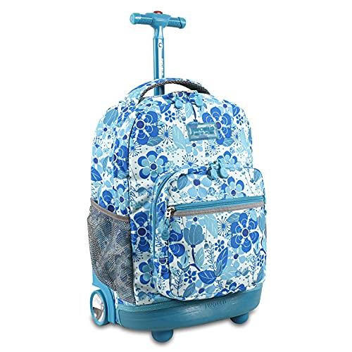 J World New York Sunrise Rolling Backpack. Roller Bag with Wheels, Blue Vine, 18