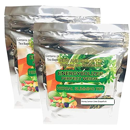 Energybolizer Perfect Weight Herbal Slimming Tea (24 Bags)   Natural Weight Loss and Metabolism Booster for Women and Men   Herbal Detox and Colon Cleanser for Better Digestive Health HONEY LEMON LIME GRAPEFRUIT FLAVOR