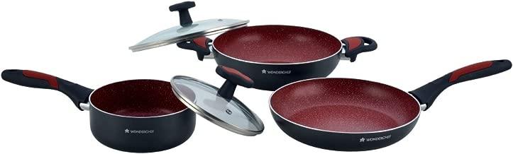 Wonderchef Burlington Aluminium Fry Pan Set, 3-Pieces, Red/Black