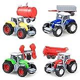 Gujugm Juego de juguetes de aleación para tractor de granja, juguetes de metal para camiones y remolques para niños de 2 a 3 años, regalos de juguete para vehículos de granja para niños