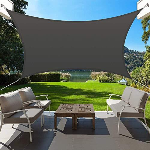 XRDSHY Wasserdicht Sonnensegel Sonnenschutz, 95% UV Block Rechteck Winddicht Schattenspender, Carport Und Pergolaabdeckung Für, Garten, Terrasse,Black-2x5m(6.5x16.5ft)