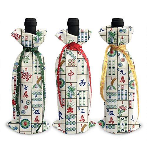 3 Stück Weihnachtliche Weinflaschen-Abdecktüten Mahjong Fliesen Dekoration Wiederverwendbare Weinflaschen-Geschenktüten für Dinner-Party Tischdekorationen
