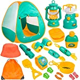 Meland Kids Camping Set with Tent 20pcs - Camping Gear Tool Pretend Play Set for Toddlers Kids Boys...