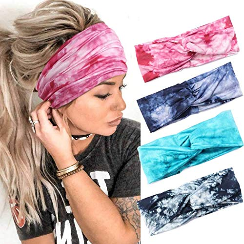 CLOACE Boho Headbands Criss Cross Tie Dye Knotted Hair Bands Pink Elastic Turban Head Wraps Breathable Stretch Sweat Hair Scarfs for Women and Girls(Pack of 4)