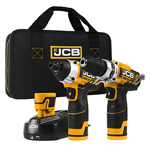 JCB Tools  12V Power Tool Kit  Compact Drill Driver and Impact Driver Set2 x 15Ah Batteries Charger  For Home Improvements Drilling Screwdriving Long Screw Work Projects JCB12TPK15