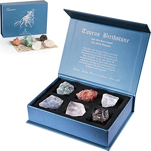 Faivykyd Taurus Crystal Gift-Zodiac Sign Stones to Complement The Birthstone-Natural Healing Crystals with Horoscope Box Set