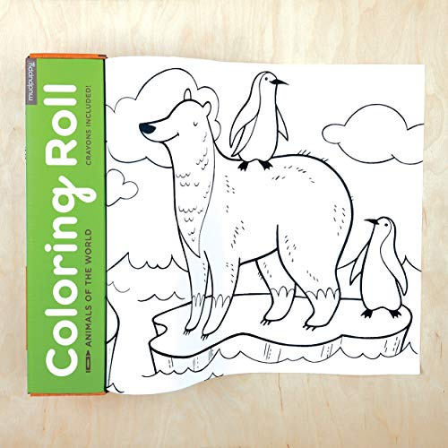 Mudpuppy Animals of the World Coloring Roll - Age 3+ - 10 Feet of Creative Coloring Fun - Includes 6 Crayons - Animal Paper Roll Easy to Store, Take on the Go - Great for Individual or Group Coloring