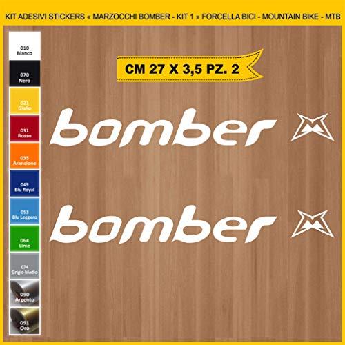 Pimastickerslab Aufkleber für Fahrrad, Gabel – Marzocco Bomber – Set mit 1 Aufklebern – Farbe – Fahrrad Cycle Pegatina Code .0993, Weiß (010 Bianco)