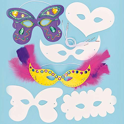 Baker Ross Caretas Máscaras Infantiles de Cartulina para Niños para Colorear Decorar y Usar como como Disfraz durante el Carnaval (Pack de 12)