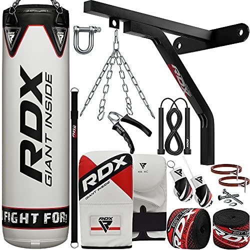 RDX 17PC Boxsack 5ft 4ft und Boxhandschuhe Set, Gefüllt Erwachsene Sack mit Wandhalterung, Kette für Boxen, Kampfsport Kickboxen, Muay Thai, MMA Training, Punchingsäcke Bag Handschuhe (MEHRWEG)