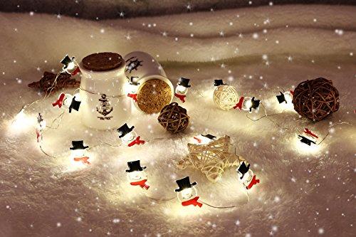 MoKo String Light mit Fernbedienung, 7.8ft 20 LED Batterienbetrieben Feenhaft Licht mit 8 Beleuchtungsmodi 12 Helligkeite für Weihnachtsferien Party Schlafzimmer Dekoration, Warmweiß und Schneemann