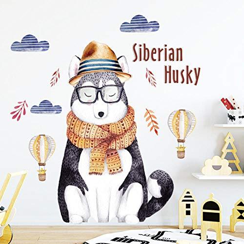 Cartoon Dog Wall Stickers Siberian Husky Wallpaper Cute Home Decor For Kids Living Room Bedroom Self Adhesive Wall Sticker